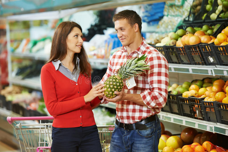 Family shopping fruits royalty free stock photo