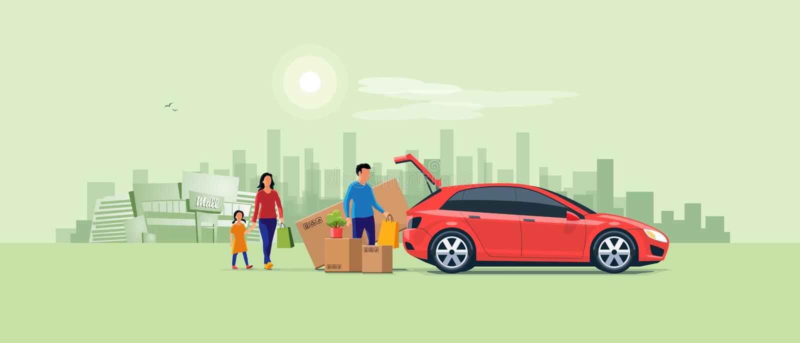 Family Shopping and Loading the Car Trunk with Purchase vector illustration