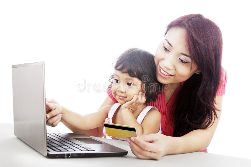 Family Shopping Online Royalty Free Stock Images