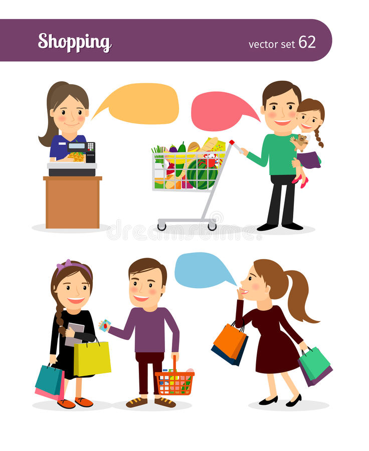 Family shopping people. Family shopping. People with shopping bags and speech bubbles royalty free illustration