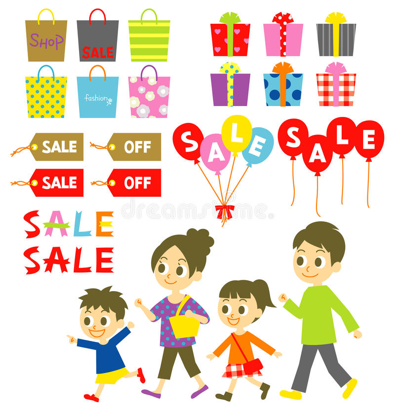 FAMILY Shopping, Sale, Price Tags Royalty Free Stock Image
