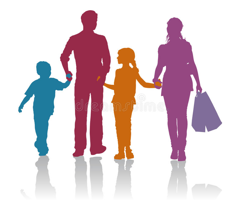 Family shopping silhouettes stock illustration