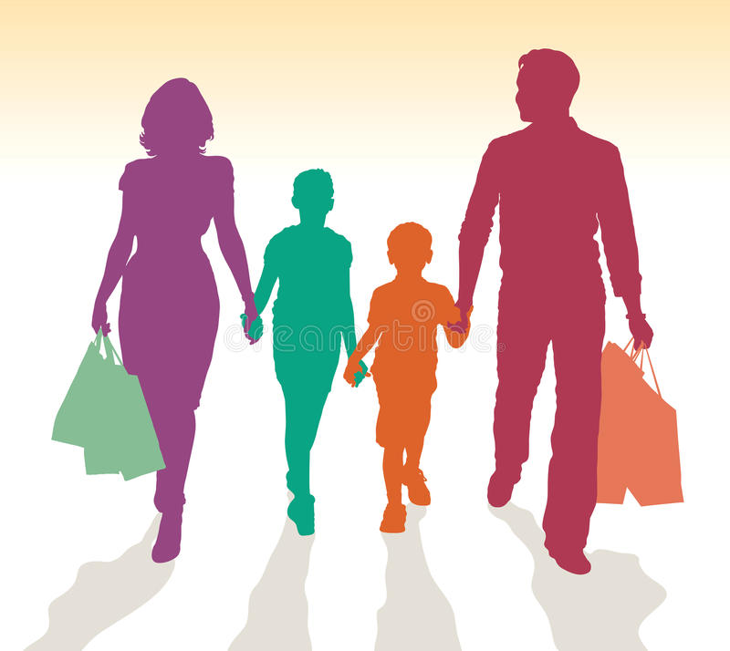 Family shopping silhouettes stock photo