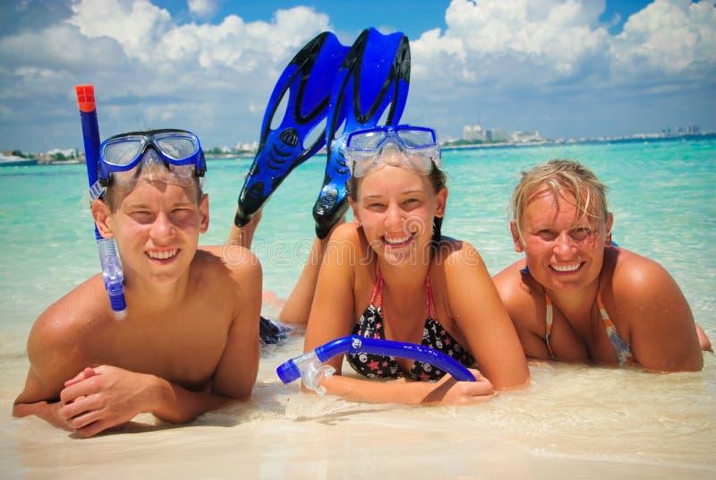 Family on shore royalty free stock photos