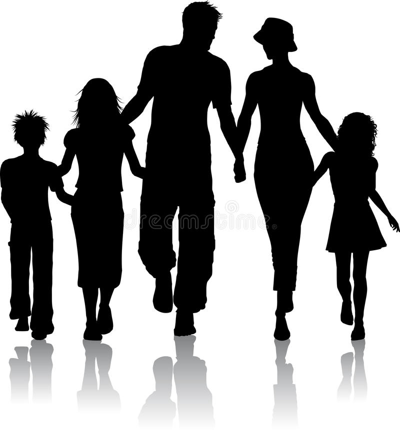 Family silhouette vector illustration