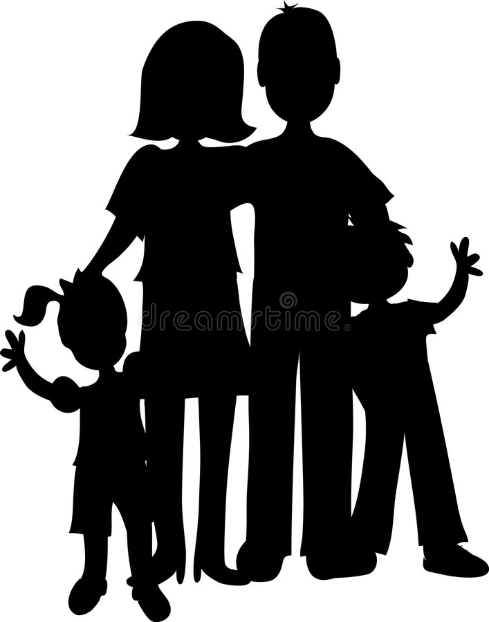 Family Silhouette stock illustration