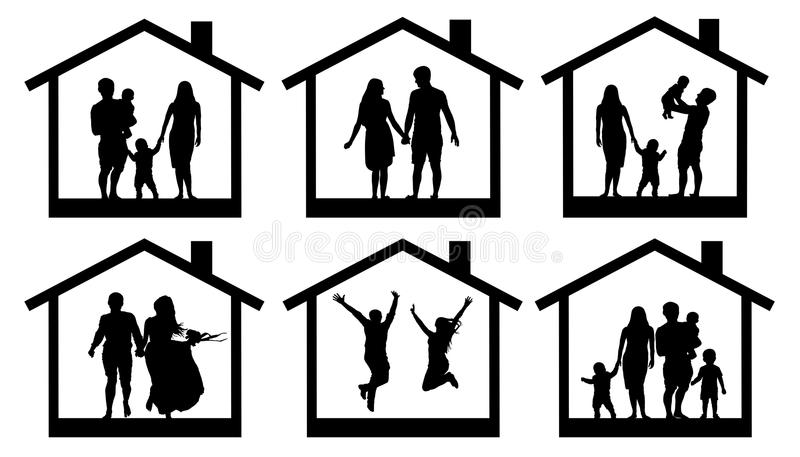 Family silhouette home. Couple man and woman with a child in the house. People jumping vector set icon stock illustration