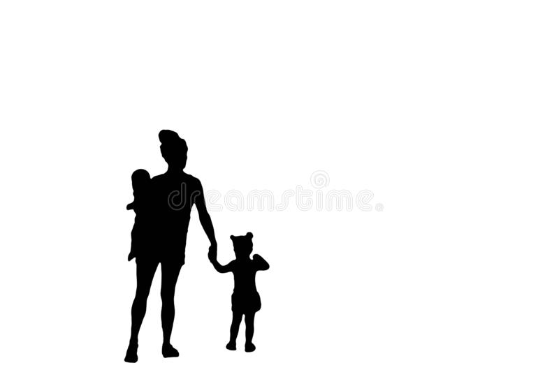Family silhouette of a mother carrying a baby and holding hands with her little girl isolated on a white background vector illustration
