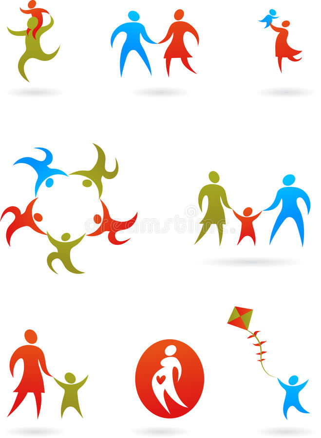 Family silhouettes - 1 stock illustration