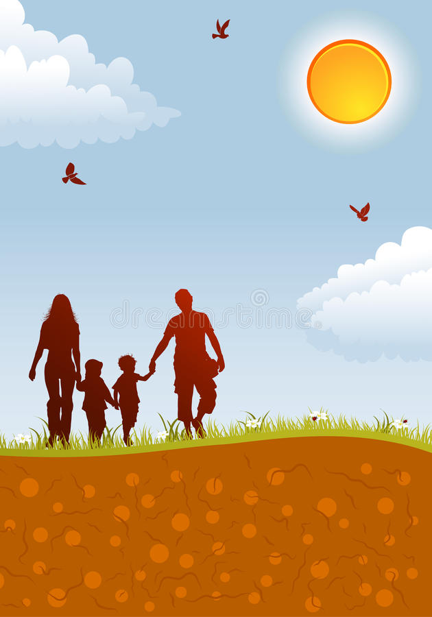 Family silhouettes stock illustration