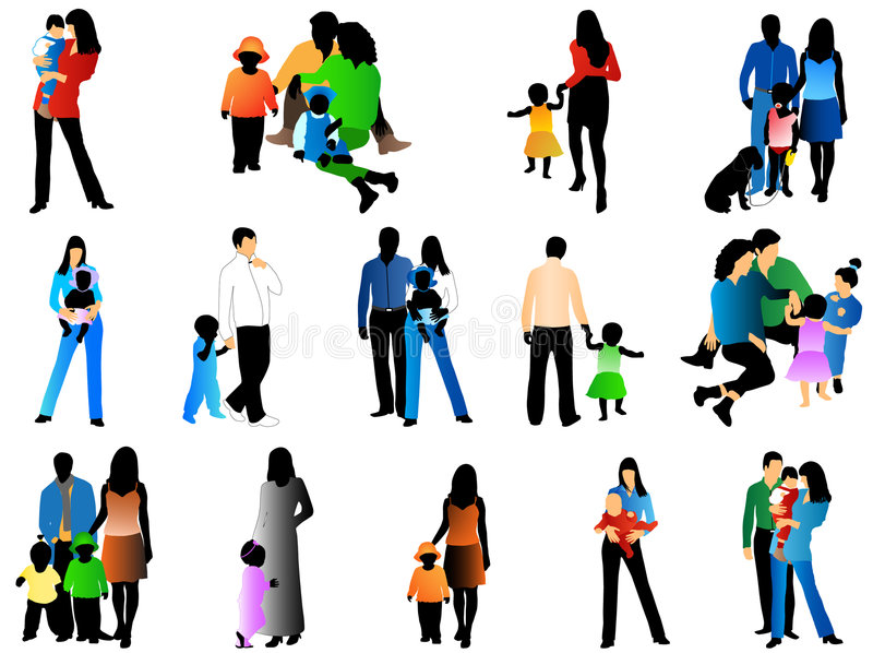 Family silhouettes. Illustrations of family silhouettes, many colors royalty free illustration