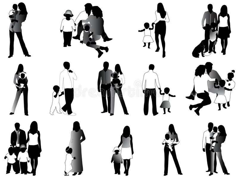 Family silhouettes. Black and white illustration royalty free illustration
