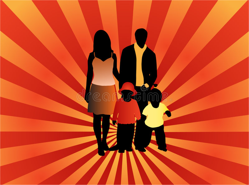 Family silhouettes. Illustration of family silhouettes and abstract royalty free illustration