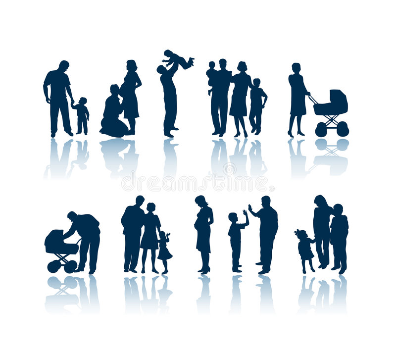 Family silhouettes royalty free illustration