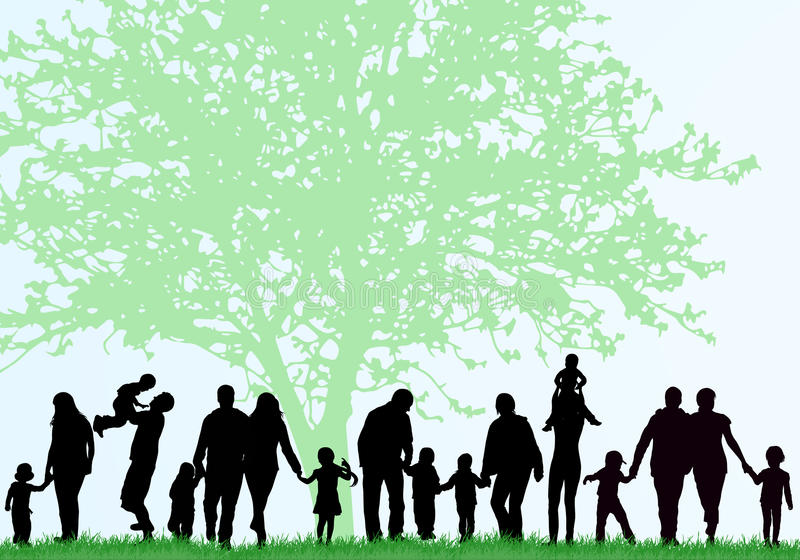 Family silhouettes. Big family concept royalty free illustration
