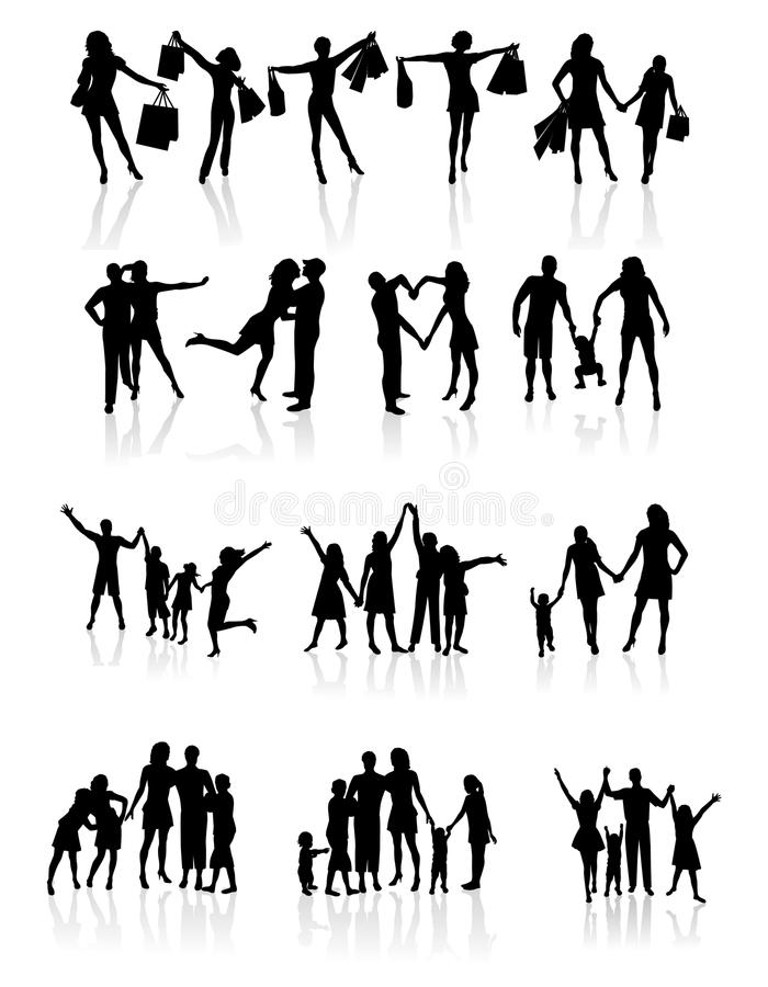 Download Family Silhouettes . Vector Illustration Stock Vector - Illustration: 32994116