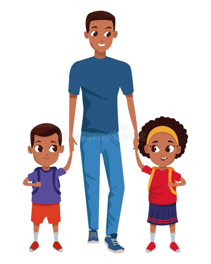 Family Single Parent With Childrens Cartoon Stock Vector Illustration Of Adultt Afroamerican 153927752
