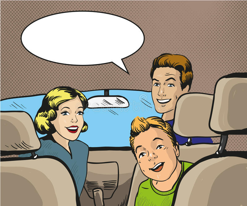 Family sitting in the car looking back. Vector illustration in pop art style, retro comic book. vector illustration