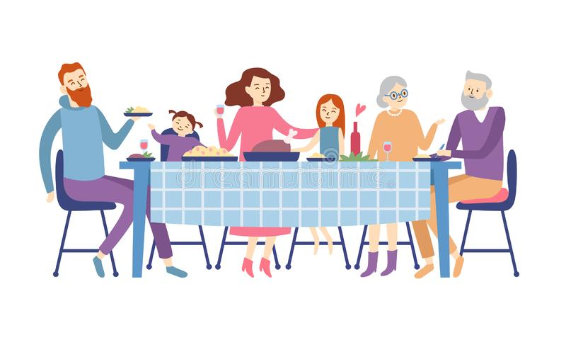 Family sitting at dining table. People eat festive food, holiday talking and family dinner reunion vector illustration. Family sitting at dining table. People stock illustration