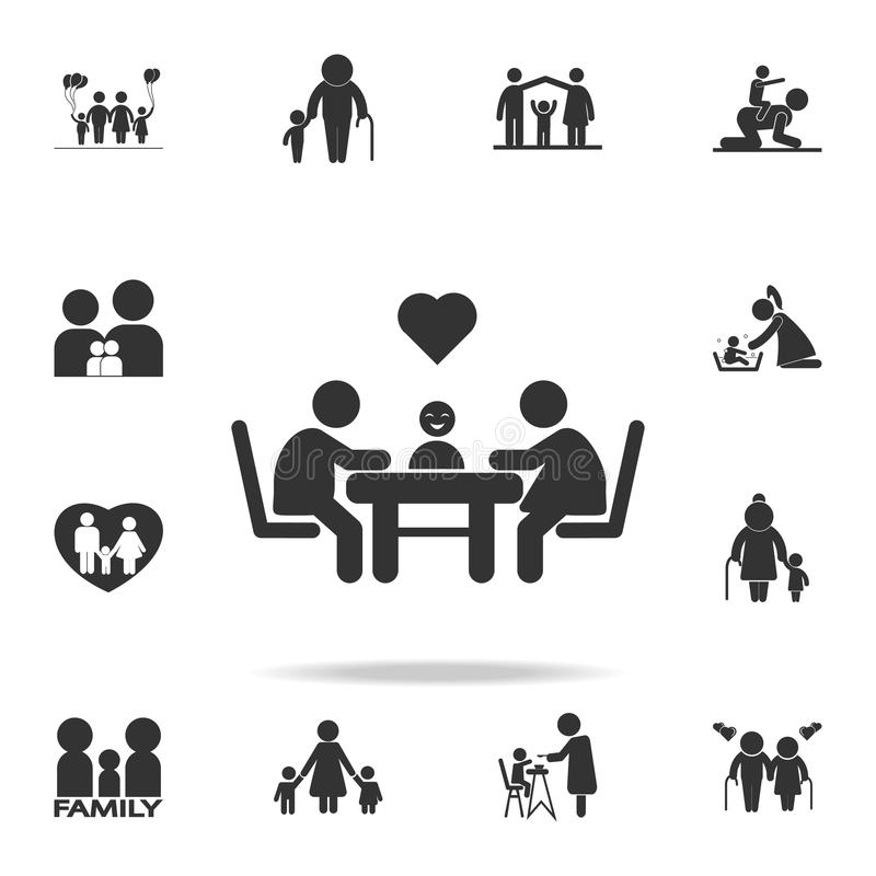 family sitting at a table with love and hearts icon. Detailed set of human body part icons. Premium quality graphic design. One of vector illustration