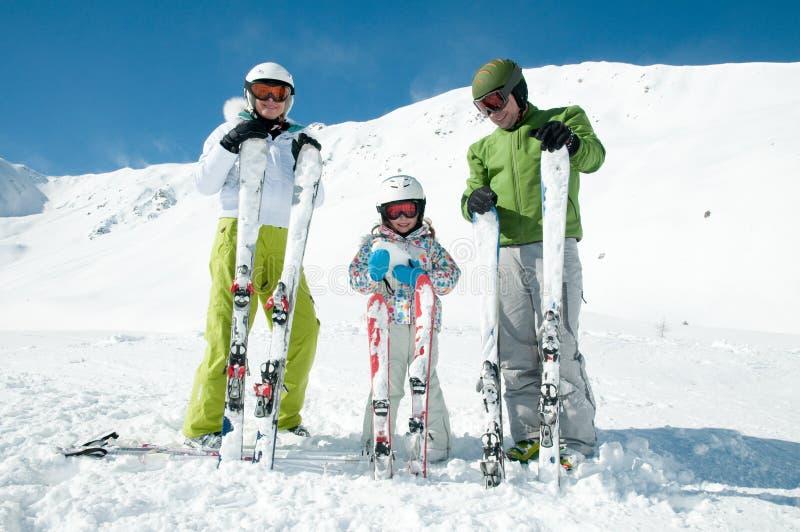 Family ski team royalty free stock image