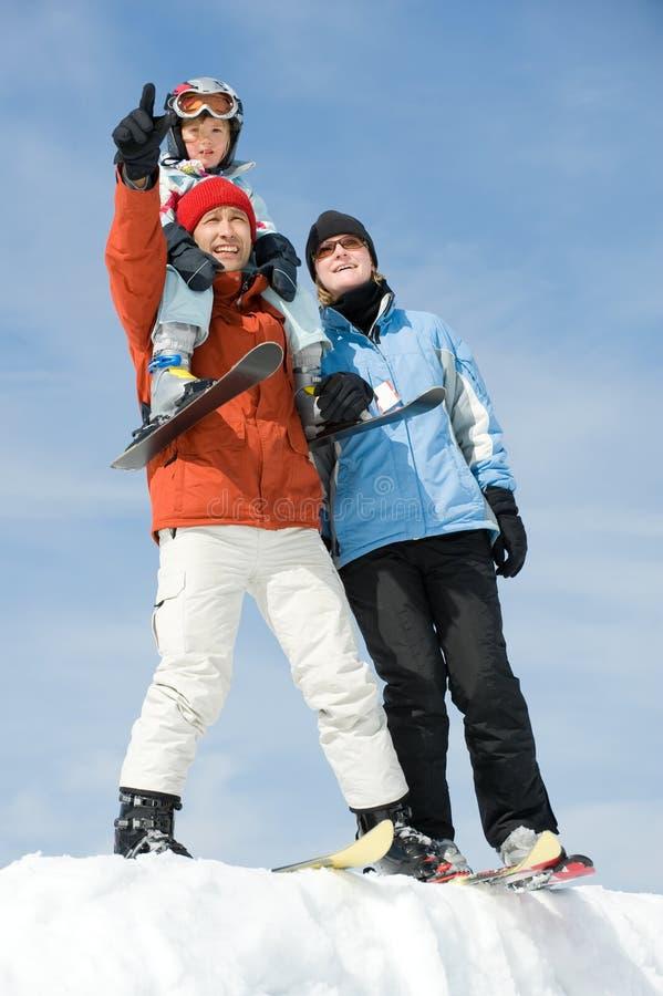 Family skiing royalty free stock photography