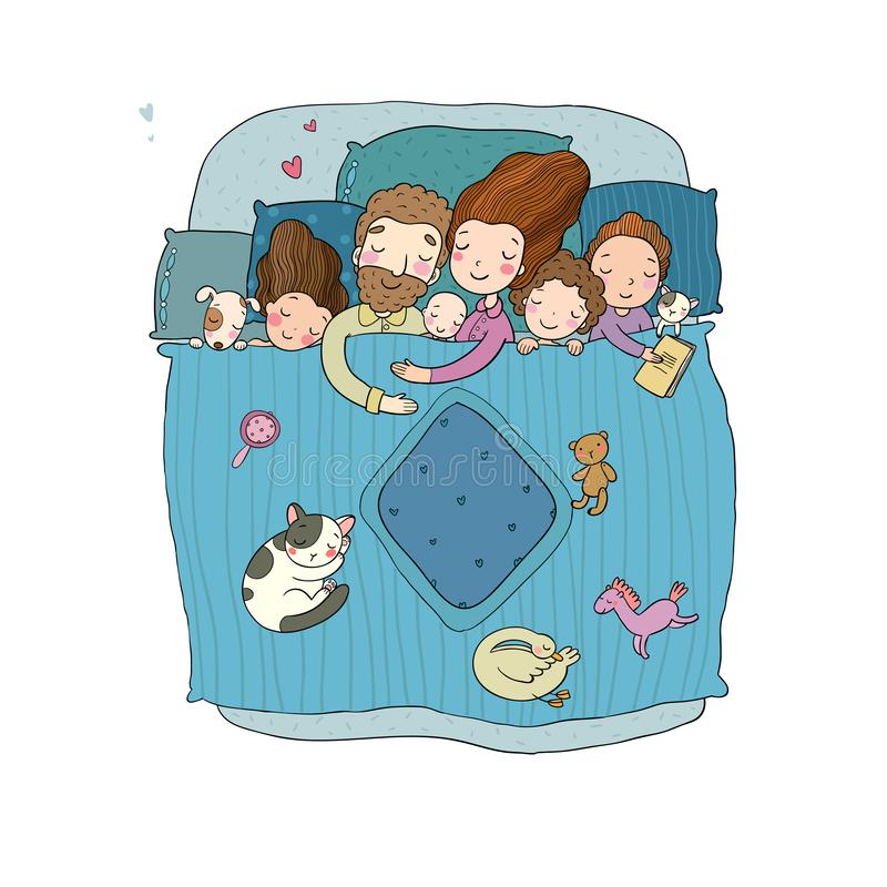 The family sleeps in bed. Cartoon mom, dad and babies. Sweet Dreams. Good night. Bed linen. Funny pets. Illustration for pajamas. Happy children royalty free illustration