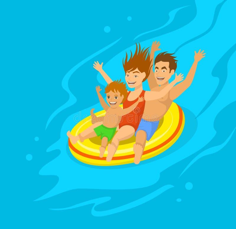 Family sliding on tube in aquapark royalty free illustration
