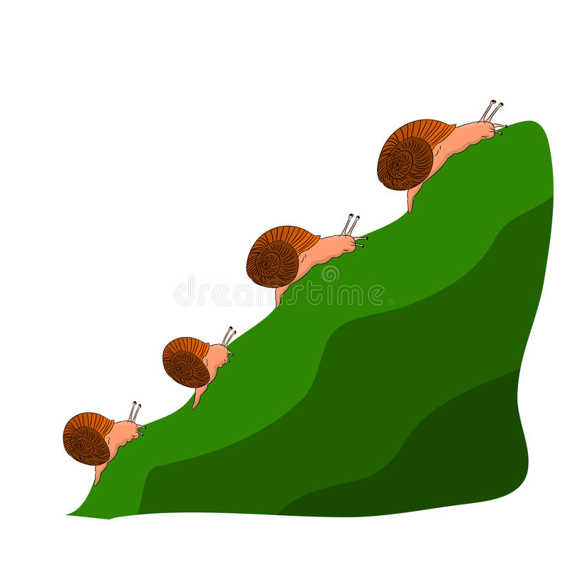 Family snails climb a mountain, cartoon on a white background. Vector royalty free illustration