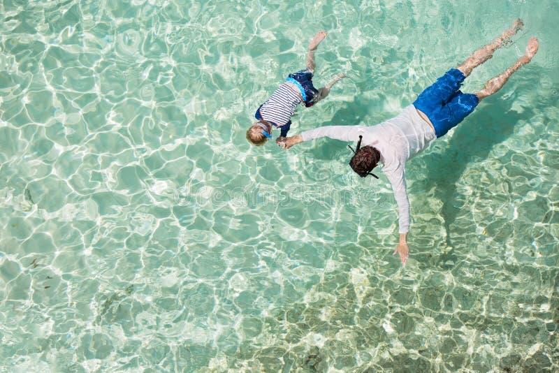 Family snorkeling royalty free stock photo