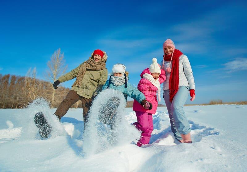 Family in snowdrift. Ecstatic family having fun in snowdrift stock photo
