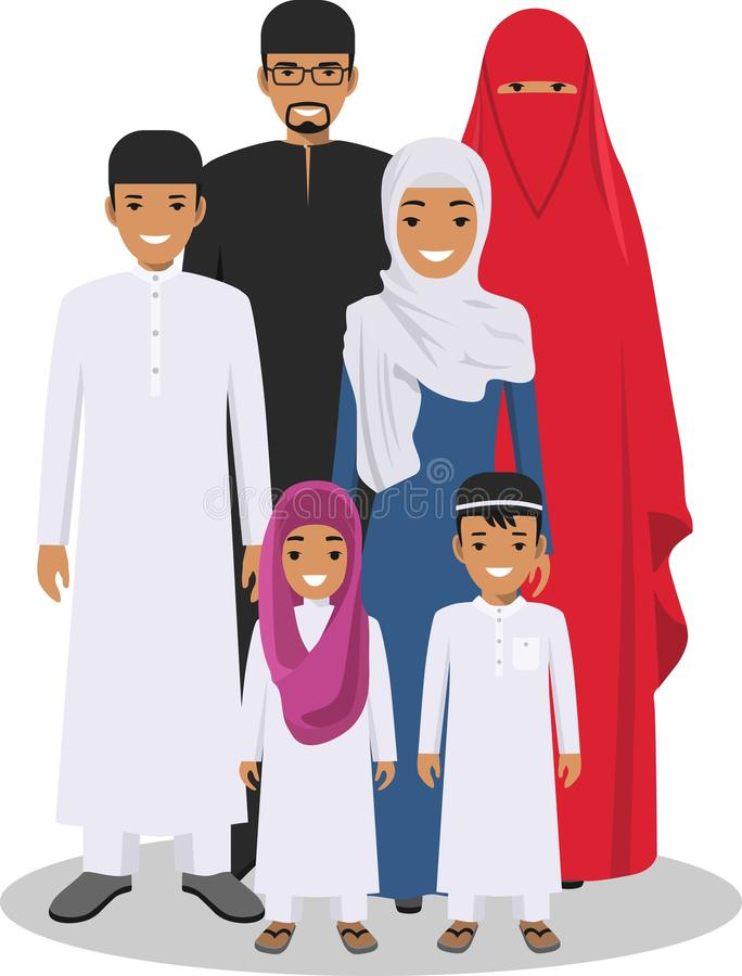 Family and social concept. Arab people generations at different ages. Arab people father, mother, son and daughter royalty free illustration