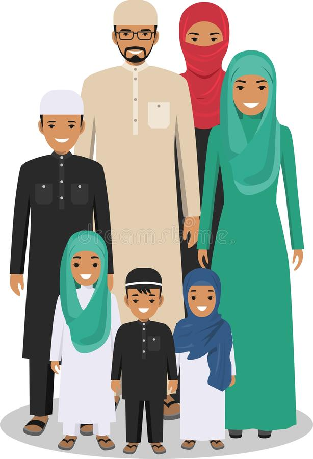 Family and social concept. Arab people generations at different ages. Arab people father, mother, son and daughter stock illustration