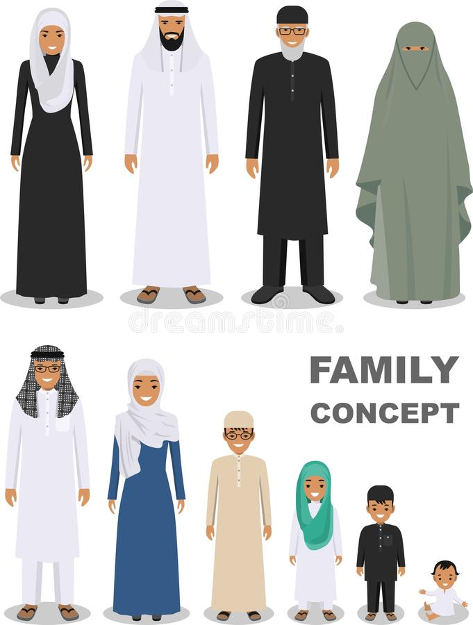 Family and social concept. Arab people generations at different ages. Arab people father, mother, son, daughter stock illustration