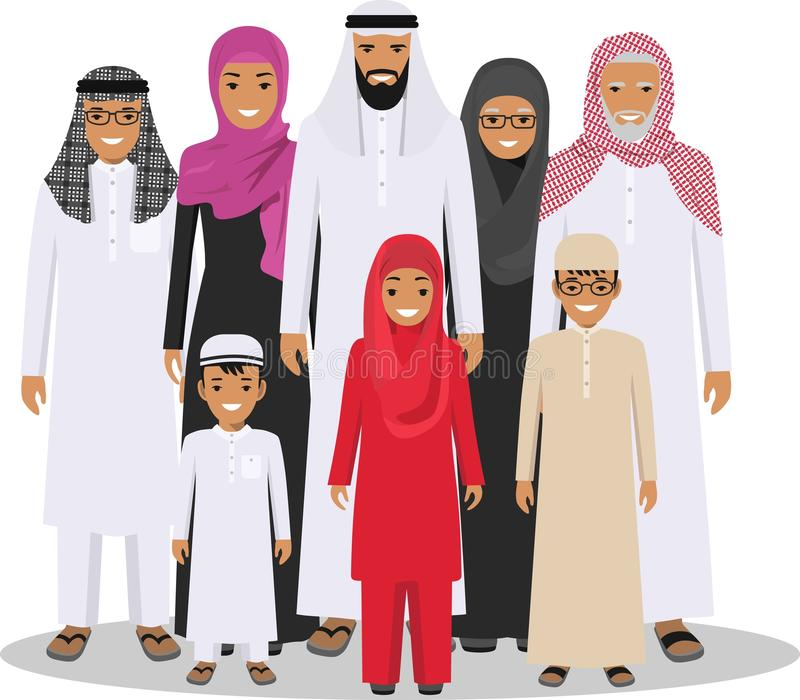 Family and social concept. Arab person generations at different ages. Muslim people father, mother, grandmother stock illustration