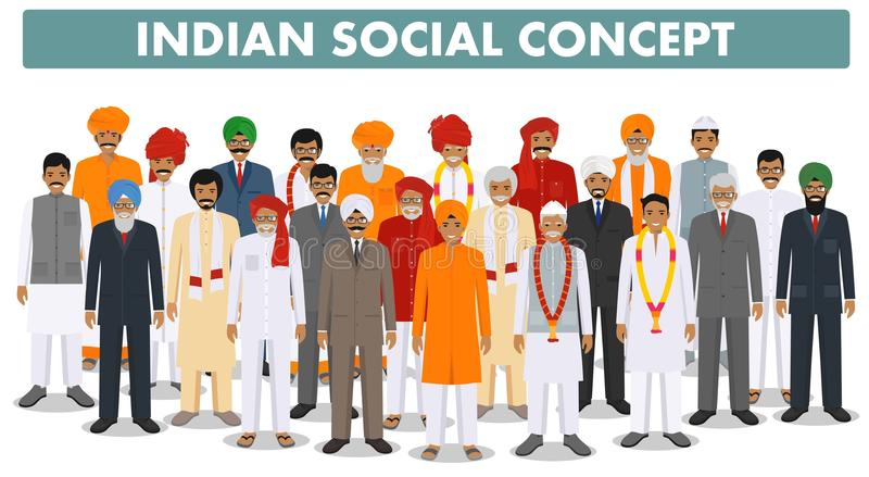 Family and social concept. Group young and senior indian people standing together in different traditional clothes on royalty free illustration