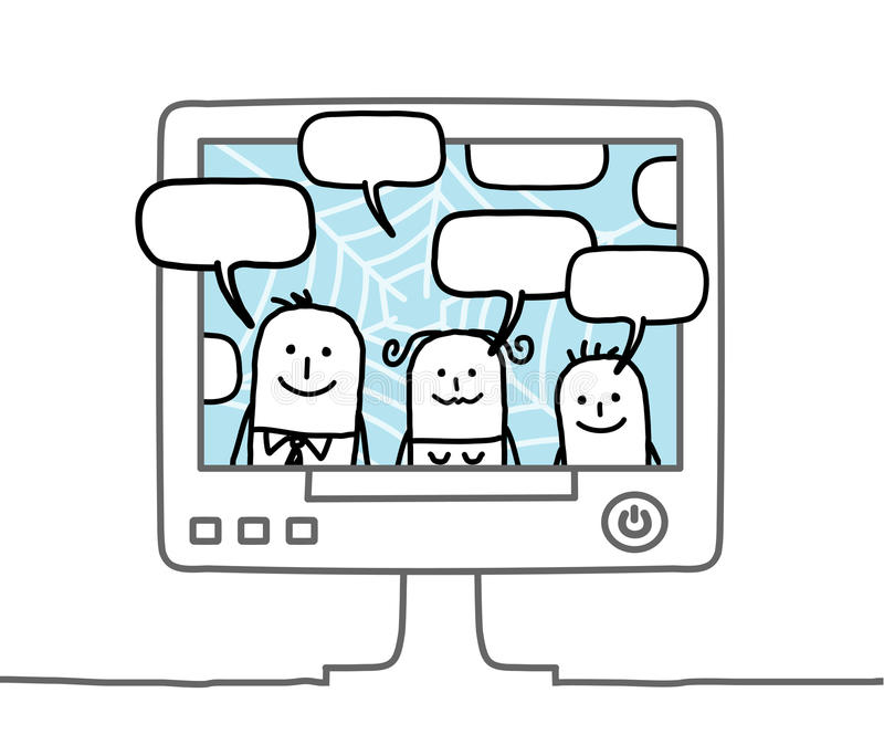 Family & social network. Hand drawn cartoon characters - family & social network