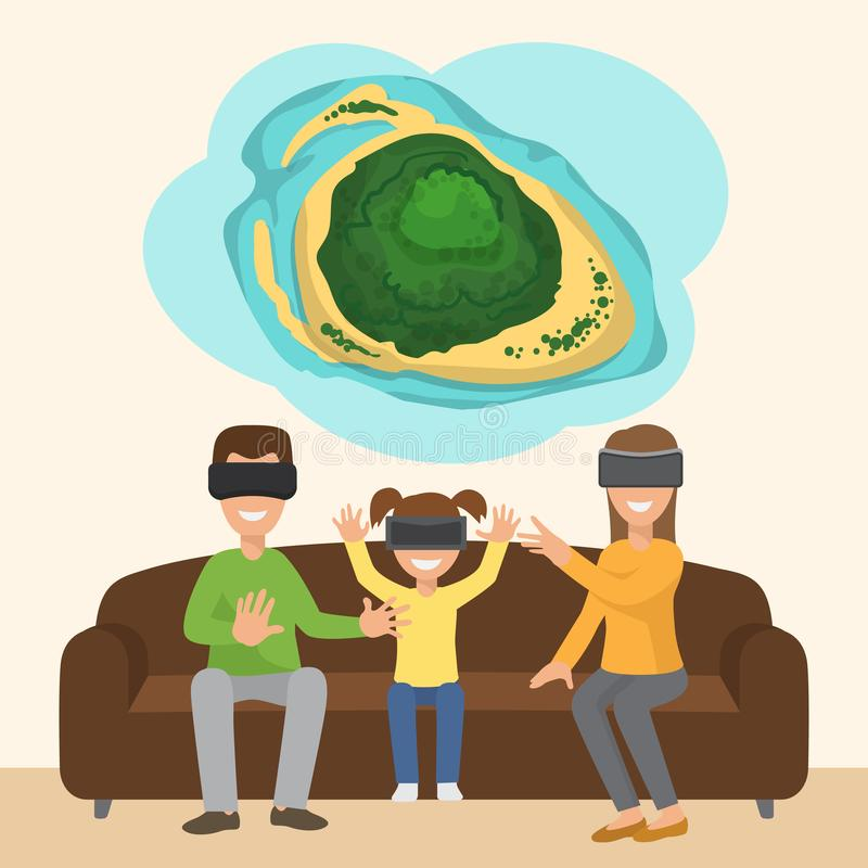Family on sofa with googles playing virtual 3d reality tropical island simulation game. Digital entertainment vector royalty free illustration