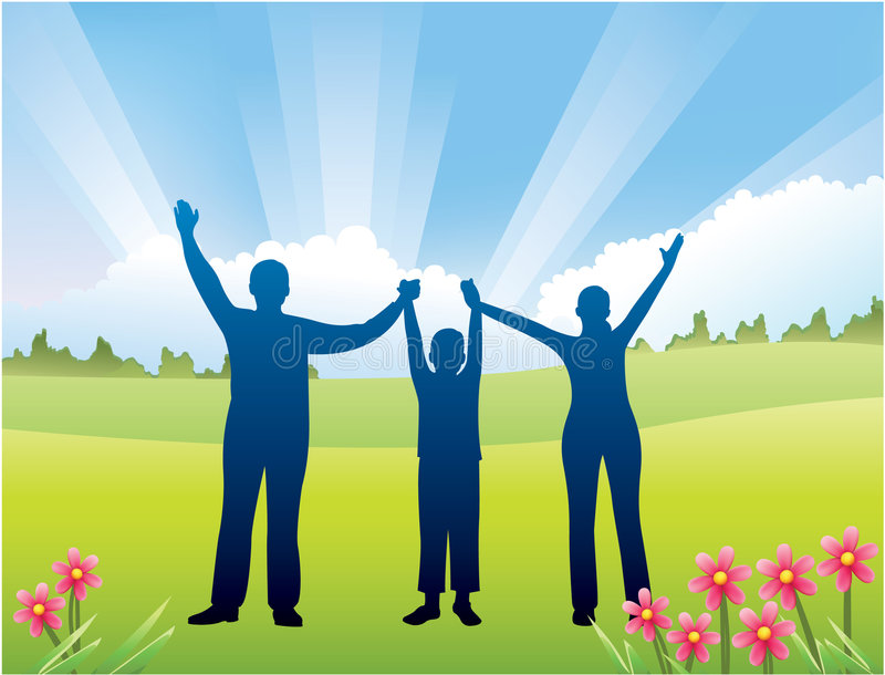 Download Family with son hands up stock vector. Image of black - 7228619