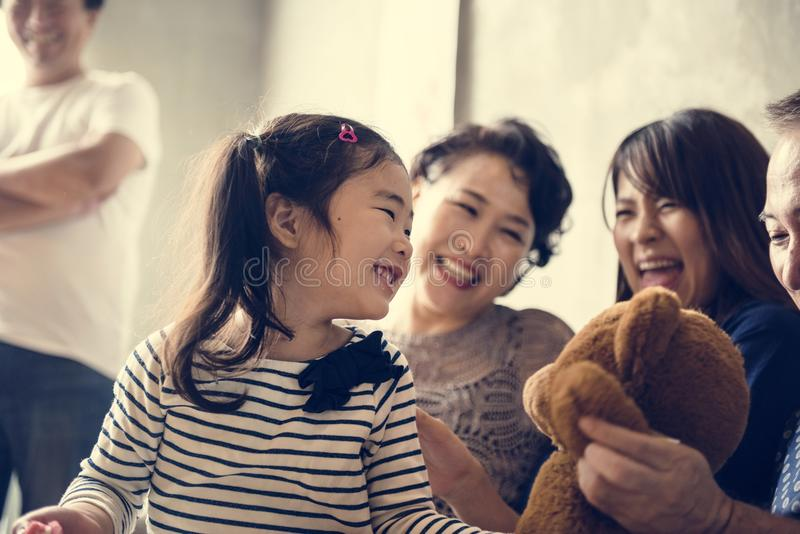 Family spending time together at home royalty free stock photography