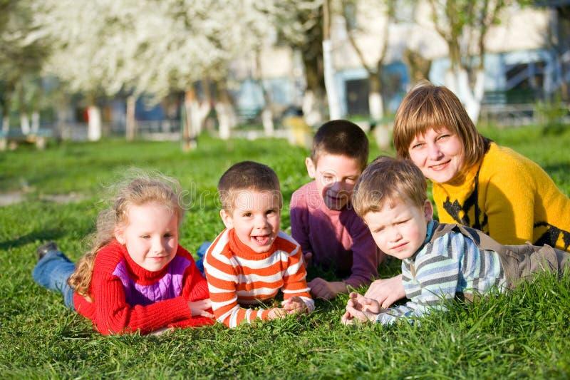 Family in spring park stock photos