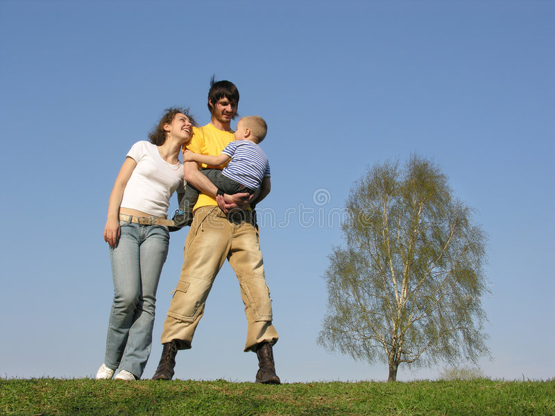 Family stand with son royalty free stock images