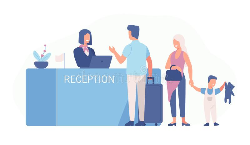 Family standing at airport check-in counter or registration desk and talking to female worker. Scene with tourists or stock illustration