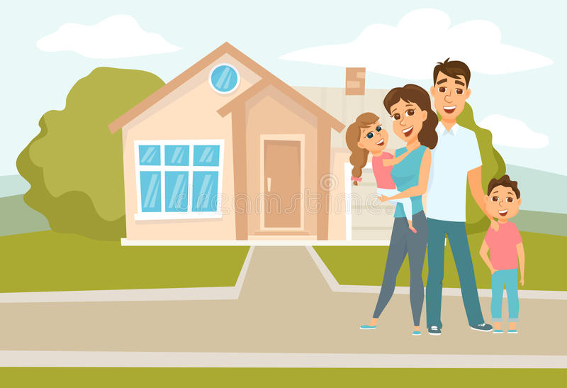 Family standing outside new home royalty free illustration