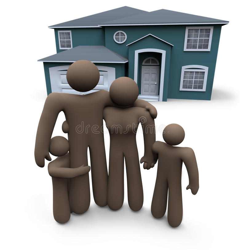 Download Family Stands In Front Of House Stock Illustration - Illustration of credit, class: 9917846