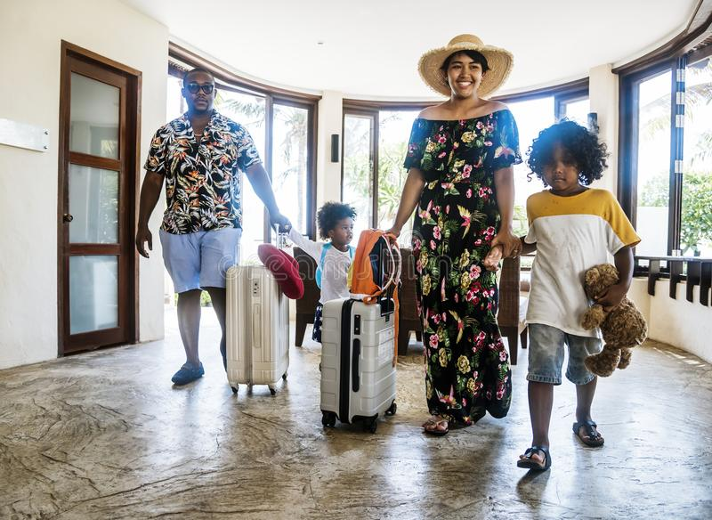 Family staying at a hotel. For vacation royalty free stock photos