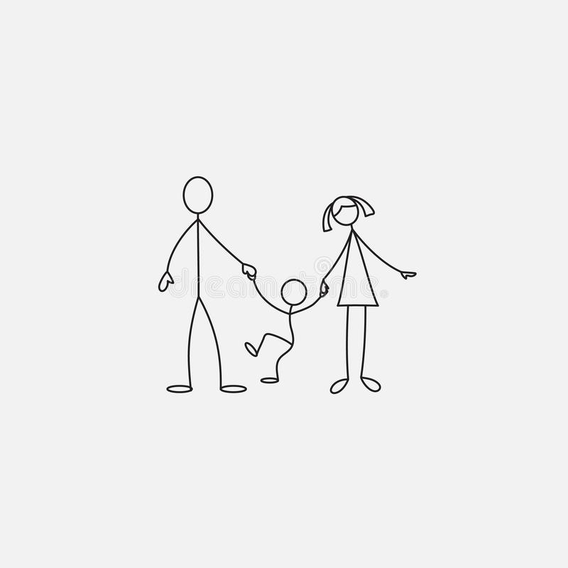 Family stick figure icon isolated on white background. vector illustration