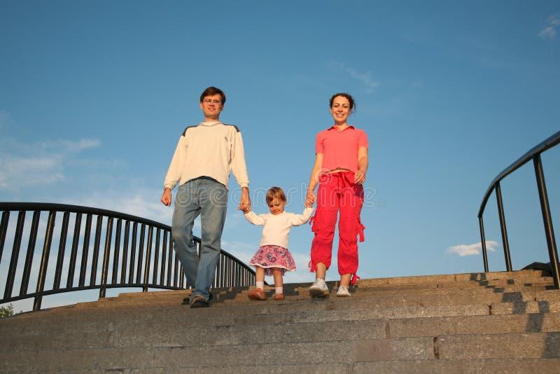 Family on stone ladder stock photos