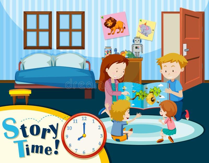 Family story time scene vector illustration