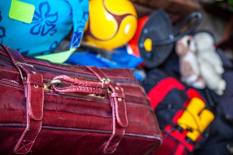 Family suitcase and bags packed ready to go to vacation royalty free stock photography